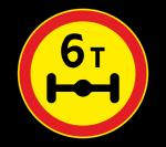 Знак 3.12 Ограничение массы, приходящейся на ось транспортного средства (Временный)