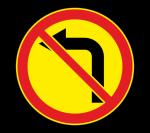 Знак 3.18.2 Поворот налево запрещен (Временный)