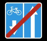 Знак 5.12.2 Конец дороги с полосой для велосипедистов